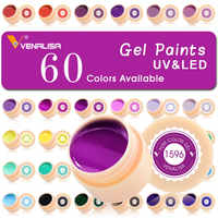 60 colores/juego de pintura de Gel para uñas de fábrica canni Pure Color DIY brillo de decoración en polvo pintura LED & UV color Gel
