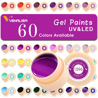 60 colors/set Nail Art Paint Gel CANNI Factory Pure Color DIY Decoration glitter powder Painting LED&UV color Gel