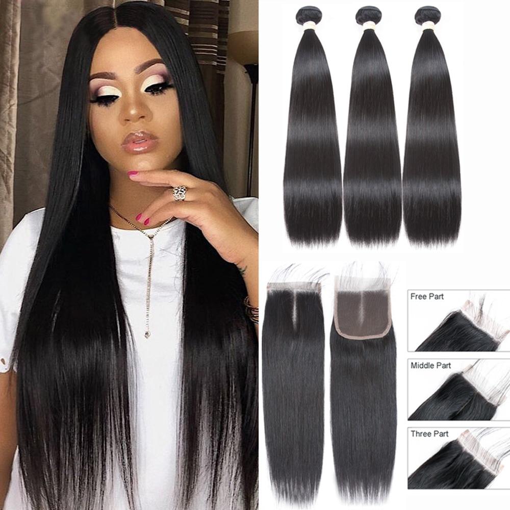 Sapphire Human Hair Bundles With Closure Peruvian Human Hair Extension 3 Bundles With Closure Human Hair Bundles With Closure