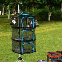 New outdoor folding drying net camping  storage basket hanging with zippers