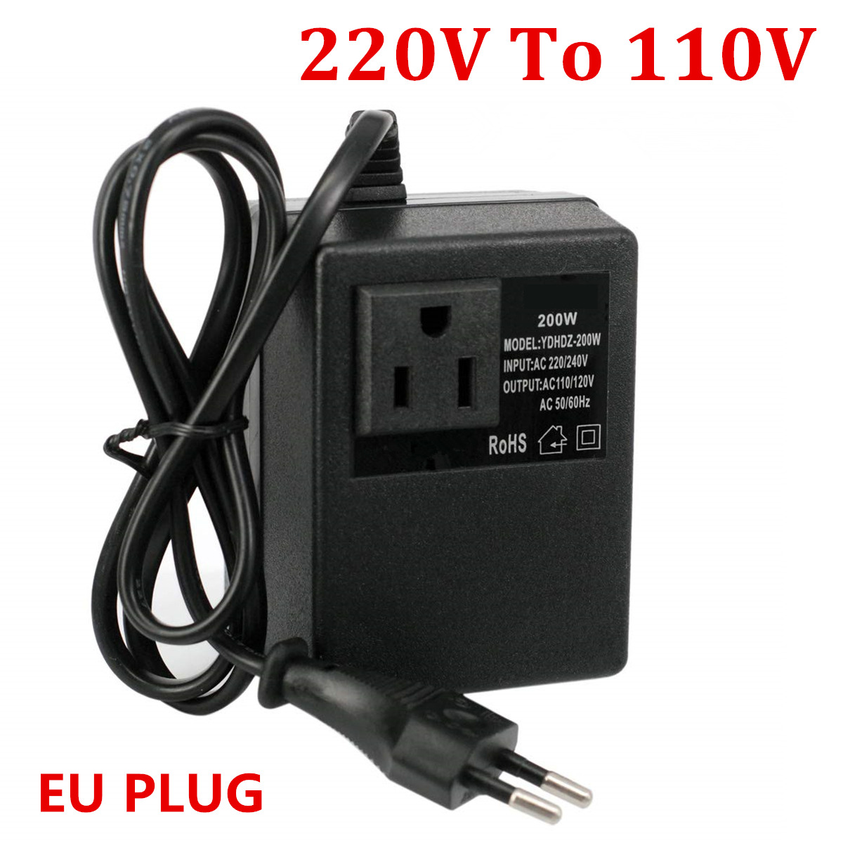 <font><b>200W</b></font> Voltage Converter Transformer <font><b>220V</b></font> <font><b>To</b></font> <font><b>110V</b></font> Step Down Travel EU Plug Voltage Transformer Converter image