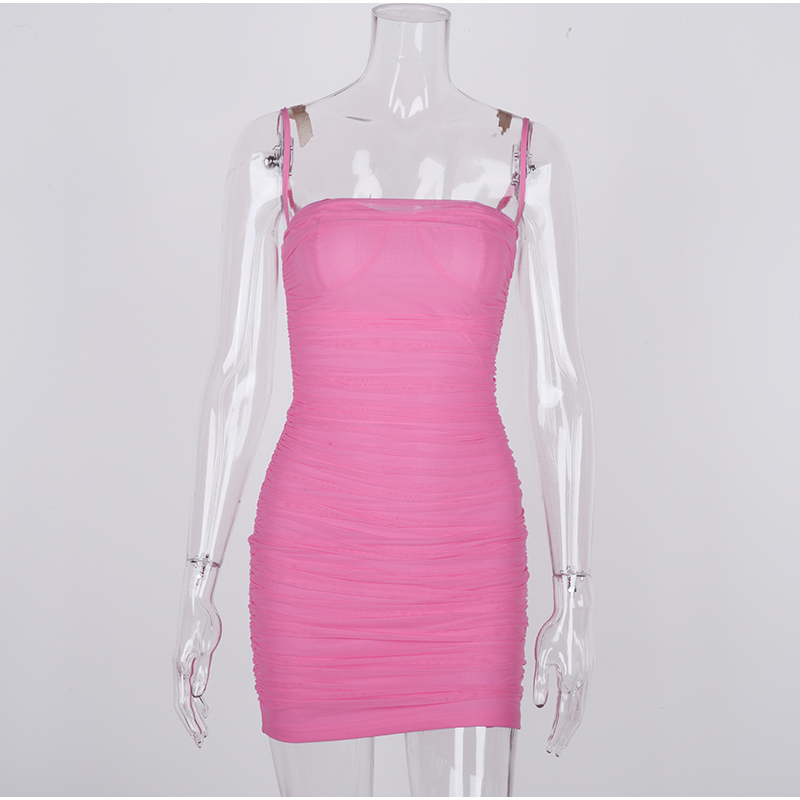NewAsia Double Layers Mesh Party Dress Summer 2019 Women Elegant Spaghetti Straps Ruched Club Dress Mini Tight Sexy Dress Pink