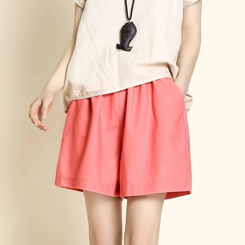 Summer 2019 Cotton Linen Short Pant Women's Loose Plus Size Leisure Pants Tight High Waist Pants Casual Wide Legs Pants Pink