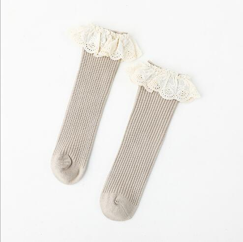 0-8 Y Autumn new children's socks double needle loose mouth baby lace girls tube socks combed cotton children's sock 5