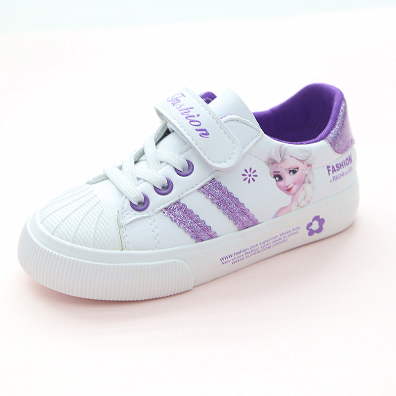 Spring Children Girls Elsa Anna Shoes Girls Princess Sneakers Kids Casual Cartoon Shoes For Girls Leather Single Shoes
