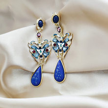 2019 New Arrival Metal Ethnic Water Drop Women Dangle Earrings Chinese Style Elegant Retro Long Butterfly Water Drop Jewelry(China)