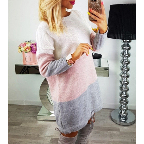 Fashion Autumn Women Knitted Sweater Long Sleeve O-Neck Loose Sweatshirt Pullover Long Top Mini Jumper Dress 3