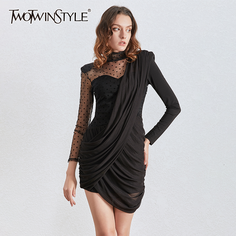 TWOTWINSTYLE Vintage Asymmetrical Mesh Dresses Female Stand Collar Puff Long Sleeve High Waist Ruched Dot Dress Women 2020 Tide