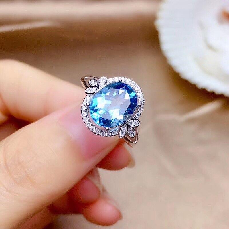 14K White Gold Natural Sapphire Ring for Women Fine Anillos De Bizuteria Anillos Mujer Gemstone Blue Topaz Wedding Ring Females