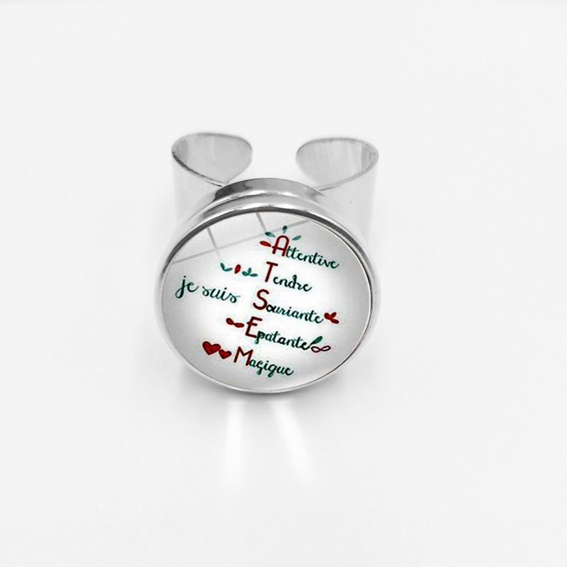 initial/Selling Graduation Souvenirs Merci Maitresse Teachers Day Gift Glass Brass Silver Button Open Ring Jewelry
