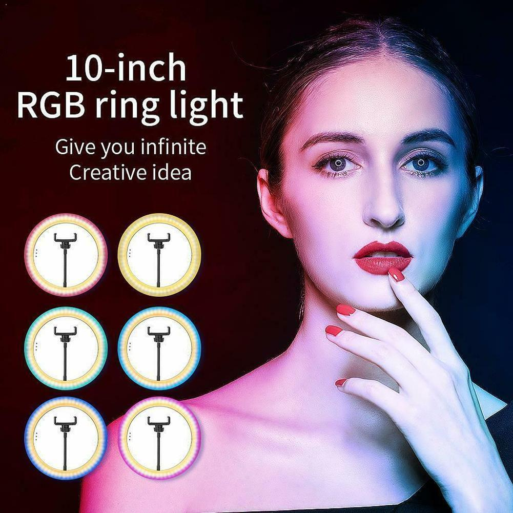 Dimmable LED Selfie Ring Light with Tripod USB Selfie For Cell Photography Light Stand Ring Studio Phone Ringlight Lamp wit B1E6