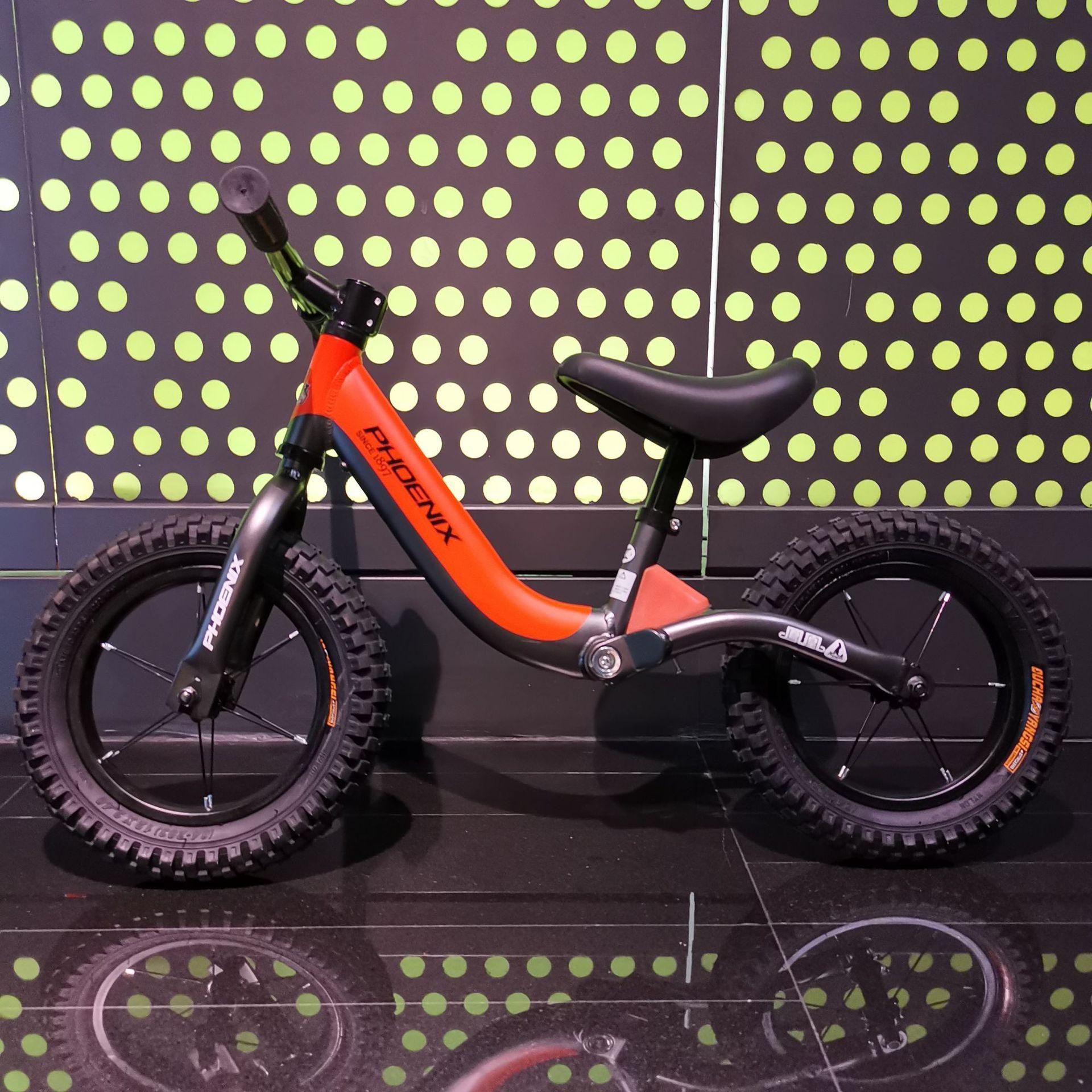 Phoenix 12 Inch Aluminum Balance Bike Toddler No Pedals For 2 – 6 Year Old – Orange, Blue