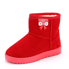 2019 New Fashion Butterfly-Knot Princess Snow Boots Children Kids Winter Shoes For Infant Girl Warm Pink Black Red Little 2 3 4 5 6 7 8 9 10 11 12 Year Old
