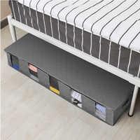 Paquete de bolsas para cama plegable, 5 cajas de almacenamiento con rejilla debajo de la cama, gruesa, transpirable, bolsas de almacenamiento de ropa, organizador con cremallera