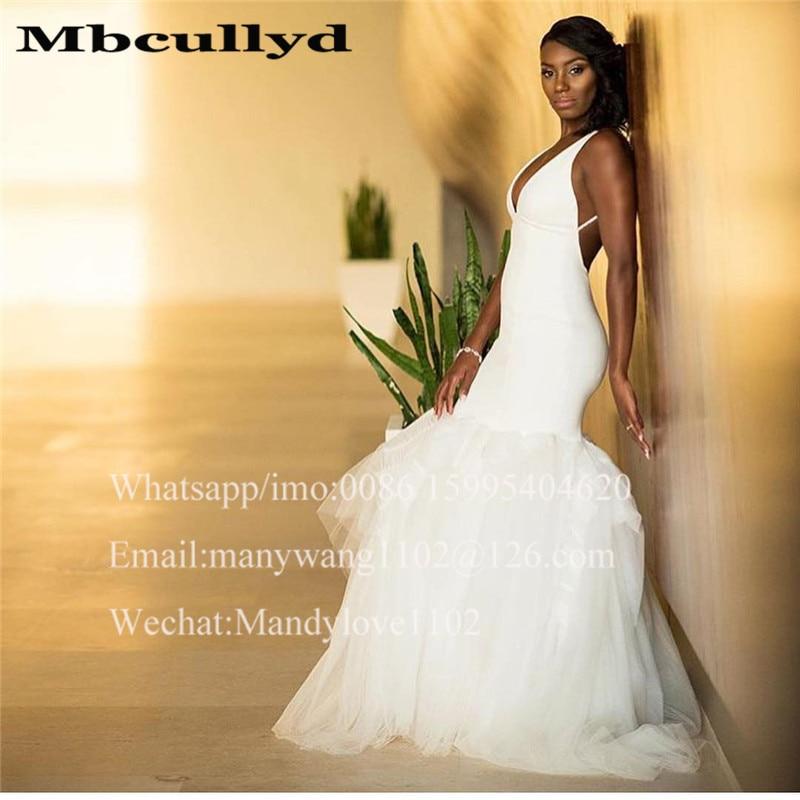Mbcullyd Deep V-neck Mermaid Wedding Dresses Long Puffy Tulle Skirt Wedding Bridal Gowns Formal African Kenya Vestido De Noiva