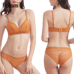 Image 4 - Sexy Lace  Bra Sets for  Women No Wire Thin Cotton Underwear Solid Lingerie Set