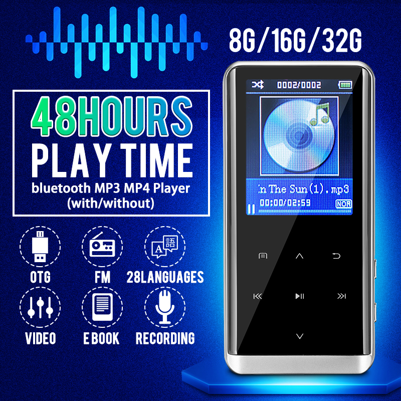 Mini 8GB HiFi Bluetooth MP3 Music Player Sports Walkman FM Radio Voice Recorder