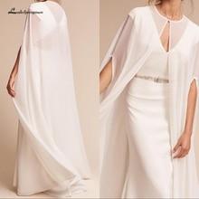 Lakshmigown белые шифоновые длинные свадебные Капри 135 см с круглым вырезом Элегантные винтажные осенние Свадебные накидки болеро, свадебные аксессуары