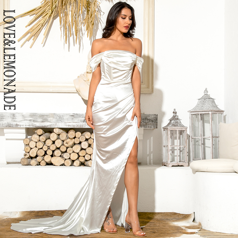 LOVE & LEMONADE Sexy White  Tube Top With Split Trailing Maxi Dress LM82060