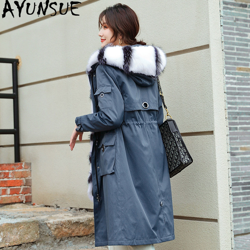 AYUNSUE Parka Real Fur Coat Female Real Rabbit Fur Liner Winter Coat Women Fox Fur Collar Long Trench Coats Manteau Femme YF1908 image
