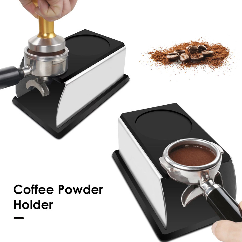 Espresso Coffee Temper Stand Stainless Steel Tamping Stand For Coffee Machine And Coffee Tamper Storage Base With Silicone Mat