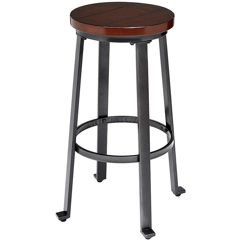 2PCS Solid Wood Bar Stool Round Seat Loft Style Furniture Counter Minimalist Bar Stool 4 Metal Leg Bar Chair 30inch