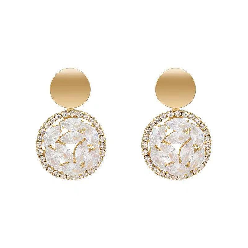 circle zircon crystal earrings brief paragraph joker temperament geometric earrings jewelry accessories