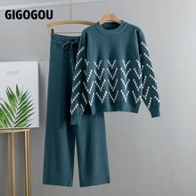 GIGOGOU Women Sweater Two Piece Knitted Sets Jacquard Tracksuit Chic Pullover Crewneck Long Sleeve Top Wide Leg Pants 2020