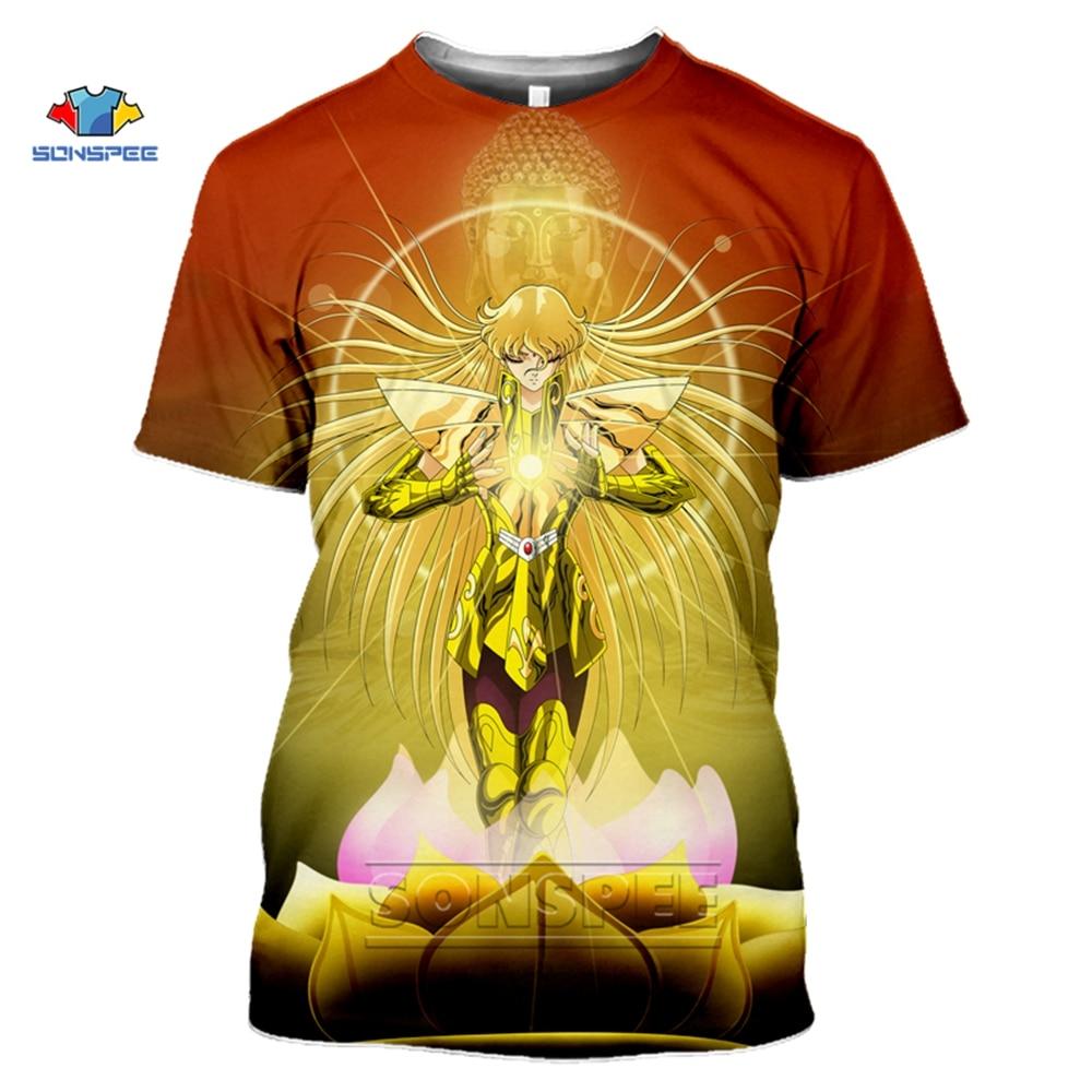 Модная японская Классическая футболка SONSPEE с аниме Saint Seiya, мужские/женские футболки с 3D принтом, футболка унисекс в стиле Харадзюку, топы в у...