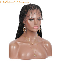Kalyss 13x5'' Lace Front Cornrow Braided Wigs Black Braiding Synthetic Wigs Senegal Twist Braided Wigs with Baby Hair 31 Inches