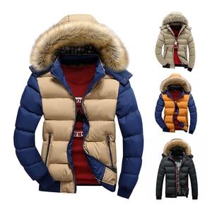 Image 1 - 2020 브랜드 뉴 겨울 자 켓 남자 따뜻한 자 켓 9 색 패션 브랜드 모피 후드 모자 남자 Outwear 코트 캐주얼 두꺼운 망 4XL