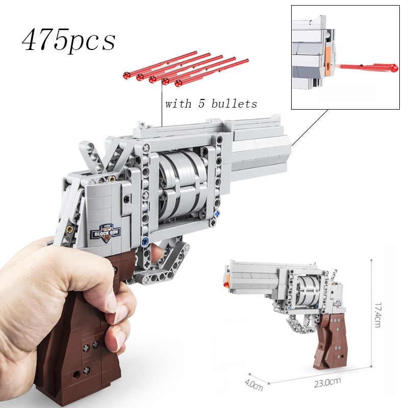 تناسب تكنيك سلسلة بندقية مسدس مسدس يمكن اطلاق النار الرصاص مجموعة DIY بها بنفسك نموذج ألعاب مكعبات البناء للأطفال الأولاد هدية