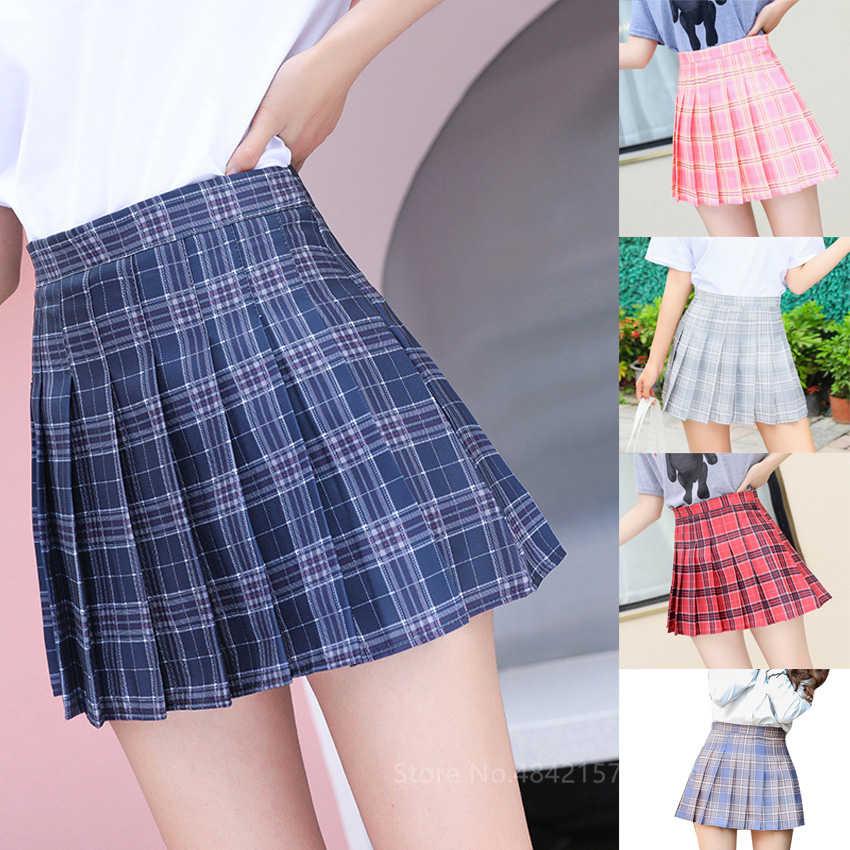 Student School Uniform Rok Meisje Hoge Taille Plaid Geplooide Rok 7 Kleuren Vrouwen Japanse Korea Kawaii Jk Pak Met Veiligheid broek