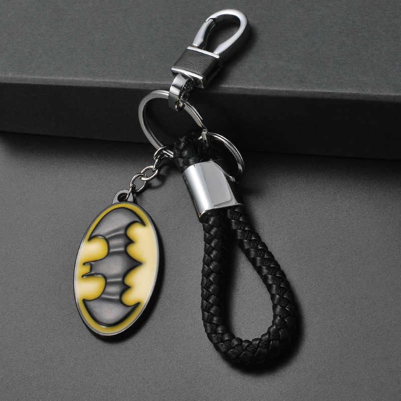 Marvel Avengers Batman Mặt Dây Chuyền Móc Khóa Kim Loại Thời Trang Keybob với Da Dây Dây Móc Khóa Phim Khóa Trang Sức