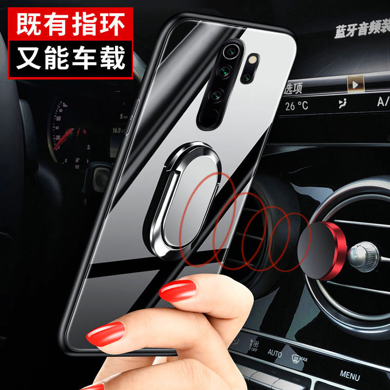 Soft Frame Standing Case With Tempered Glass Magnet Ring Holder for Xiaomi Redmi Note 8 Pro 1