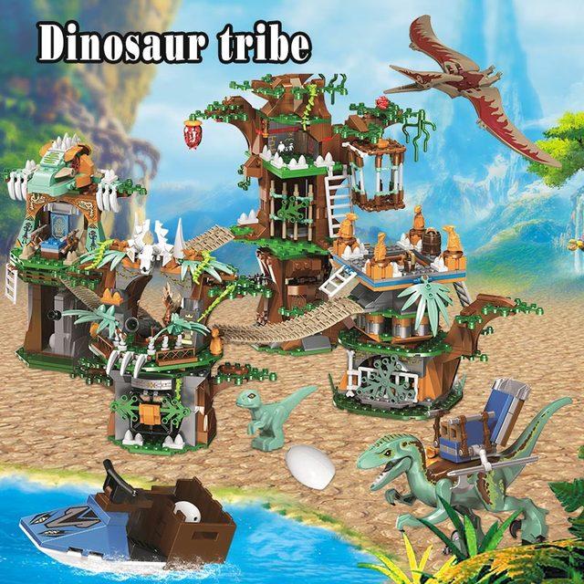 1000pcs Dinosaur Series Tree House DIY Model Building Blocks  Jurassic World Park Dinosaur Figures Bricks Toys For Boys
