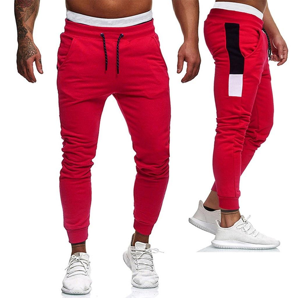 Men Pants Hip Hop Joggers Pants New Male Trousers Patchwork Sweatpants Bodybuilding Pocket Flexible Waist Long Pants Trousers#G2