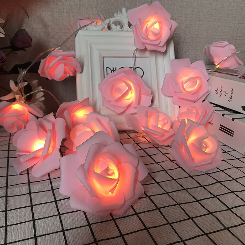 Battery Operated /2M/3M/6M/10M LED Rose Flower Garland Christmas Holiday String Lights For Valentine Wedding Decoration