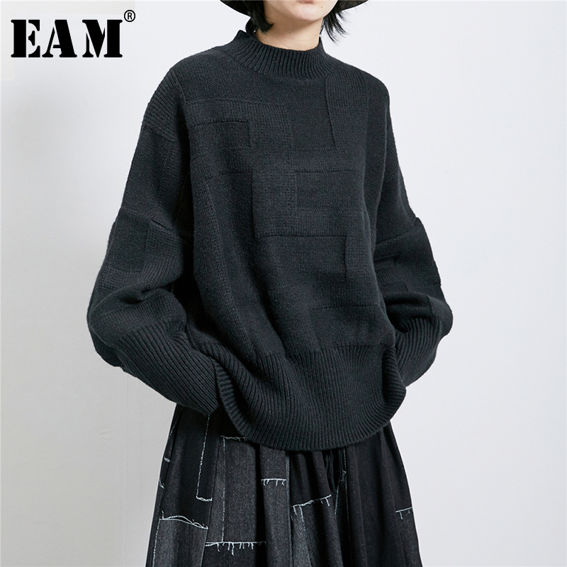 [EAM] Brief Oversized Knitting Sweater Loose Fit Turtleneck Long Sleeve Women Pullovers New Fashion Tide Spring 2020 1R274