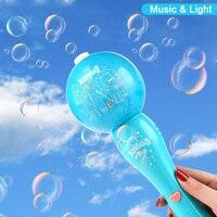 Máquina de burbujas eléctrica con luz y jabón automático, Juguetes Exterior para niños y niñas, juguete para jugar a las casitas