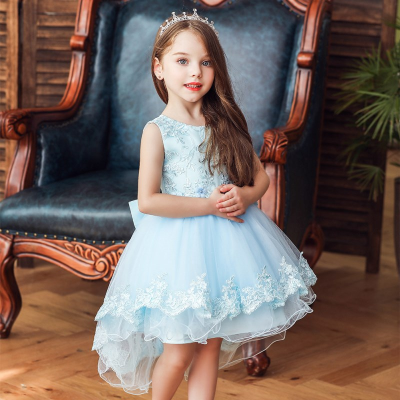 Children Birthday Clothing Embroidery Lace Big Bow Baby Girl Dress For Wedding Party Kids Dresses For Girls Toddler Dress