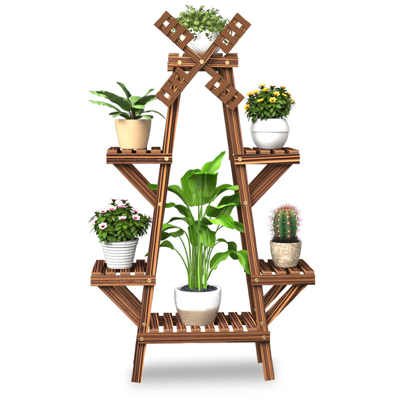 Balcony Flower Stand Wooden Flower Pot Stand Solid Wood Indoor Plant Stand  Household Flower Garden Stand Flower Rack Shelves
