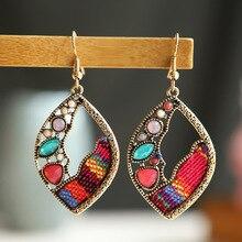 Vintage Ethnic Leaf Shape Earrings Bollywood Jewellery For Women Afghan Crystal Bead Jhumka Indian Earrings Handmade Jewelry
