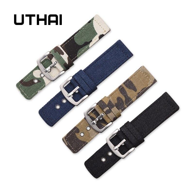 UTHAI P33 Canvas Nylon Strap 18mm20mm22mm24mm Watch Strap Black Camo Watch Band Watch Parts