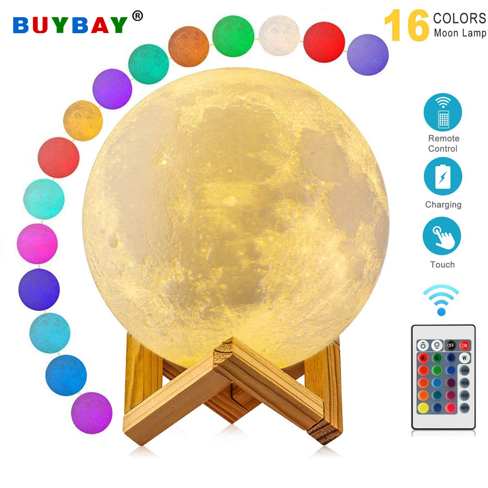 LED Moon Lamp 3D Print Night Lights USB Rechargeable 16 Colors Change Remote Led Moon Light For Bedside Table Desk Lamp Gift