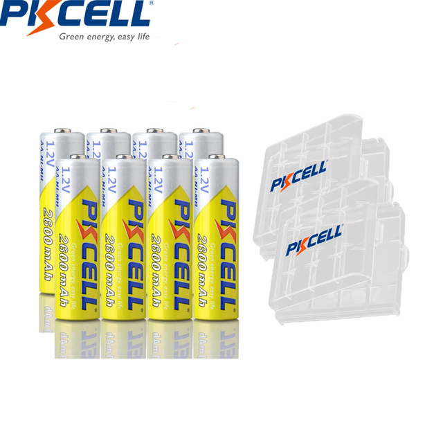 8 pièces PKCELL batterie NIMH AA 2600Mah 1.2V 2A Ni-Mh Batteries rechargeables AA Bateria Baterias + 2 pièces
