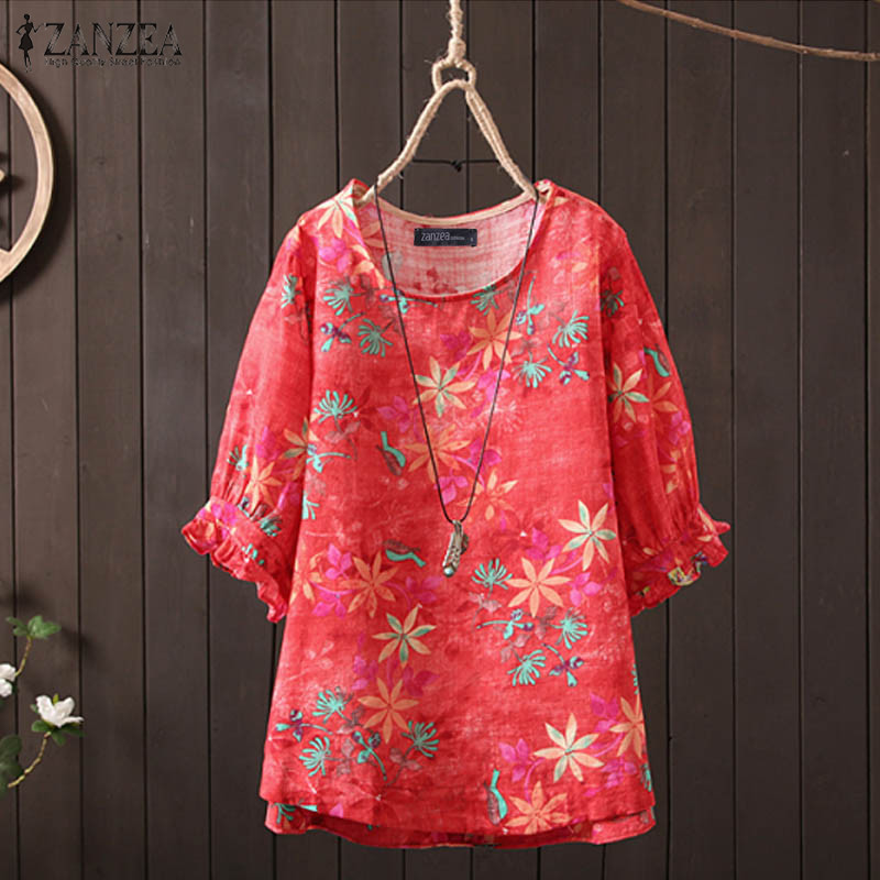 ZANZEA 2019 Women Blouse Autumn Summer Shirt Half Sleeve O Neck Floral Printed Tops Leopared Tunic Blusas Plus Size Chemise Tee