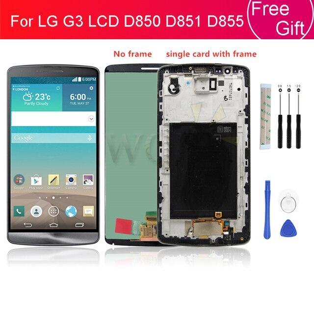 ل LG G3 LCD D850 D851 D855 شاشة الكريستال السائل مع مجموعة المحولات الرقمية لشاشة تعمل بلمس مع الإطار شحن مجاني استبدال إصلاح أجزاء