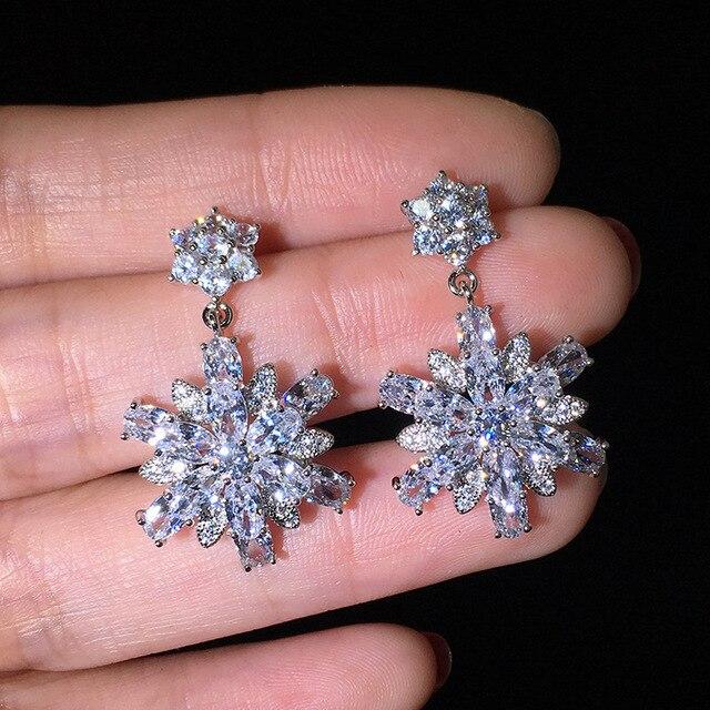 Ohrringe 925 Silber Schneeflocke Zirkon