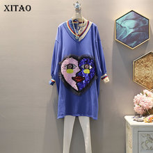 Sequin Dress Women XITAO Patchwork Fresh-Style Knitted Elegant V-Neck Autumn Loose WLD2601